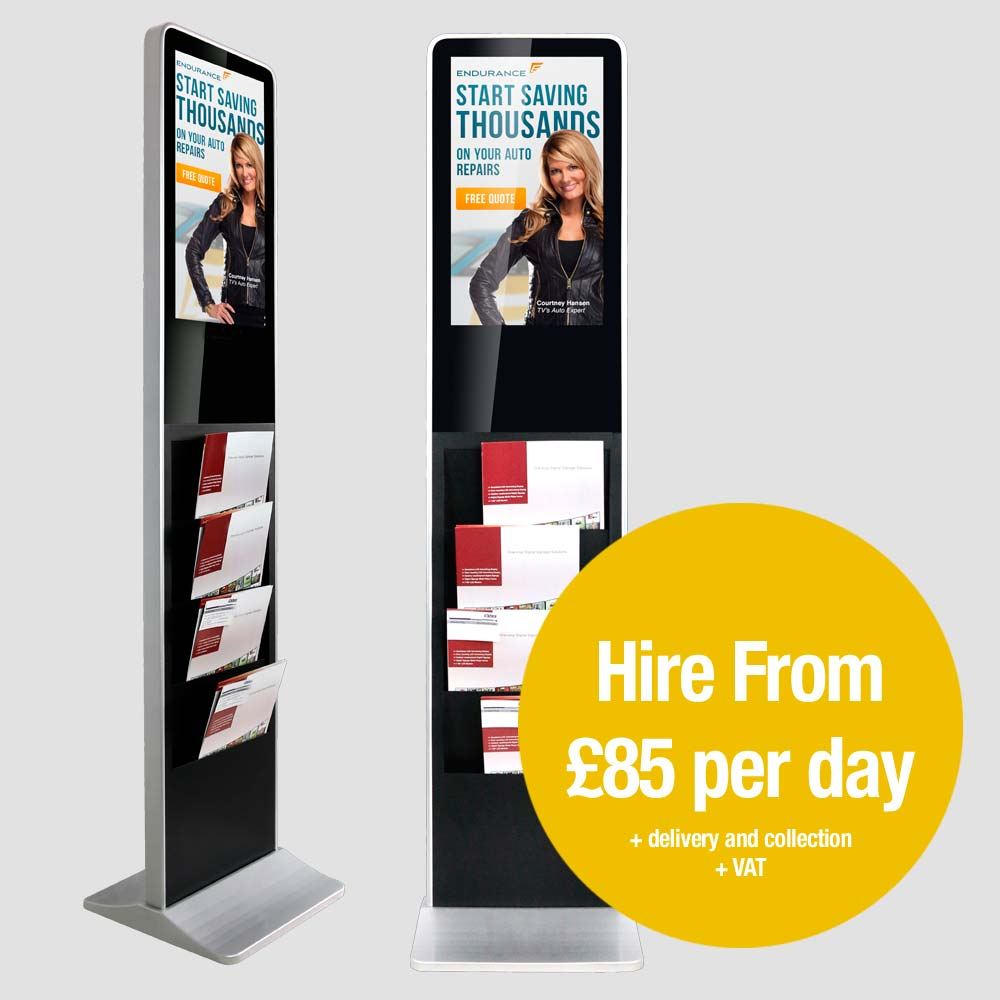 1.8 meter black brochure kiosk with LED display. Hire from £85 per day