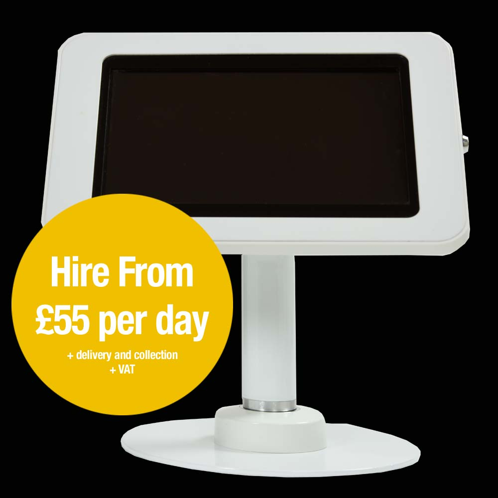 a white free standing tablet enclosure for Apple and Samsung tablets. Hire from £55 per day
