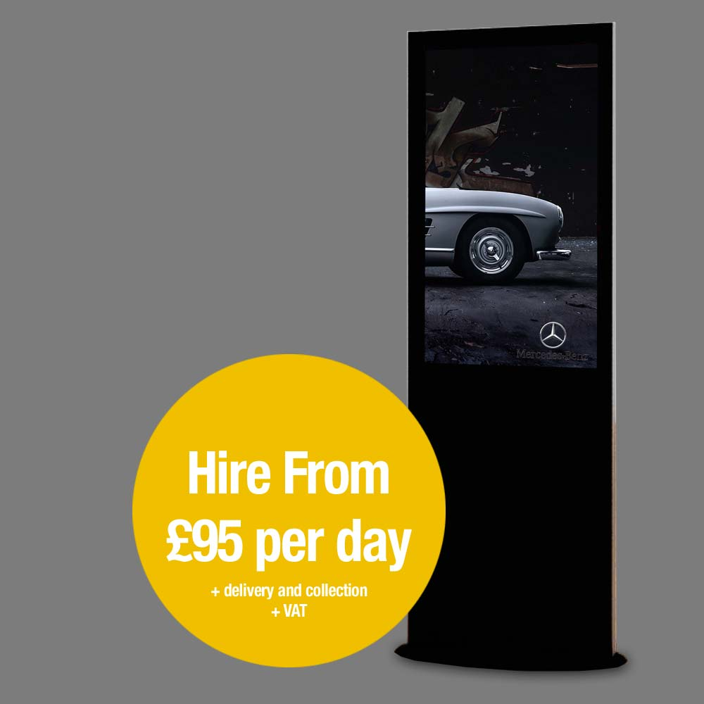 Blade 4k Black 1.8m tall digital signage advertising kiosk for hire or rent. Hire from £95 per day