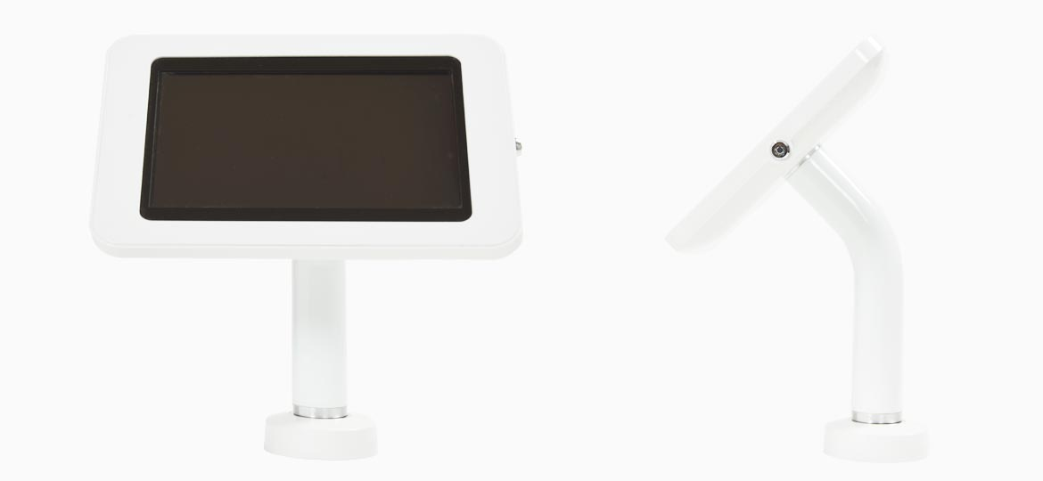 A white tablet enclosure table top or counter top Samsung or Apple tablet