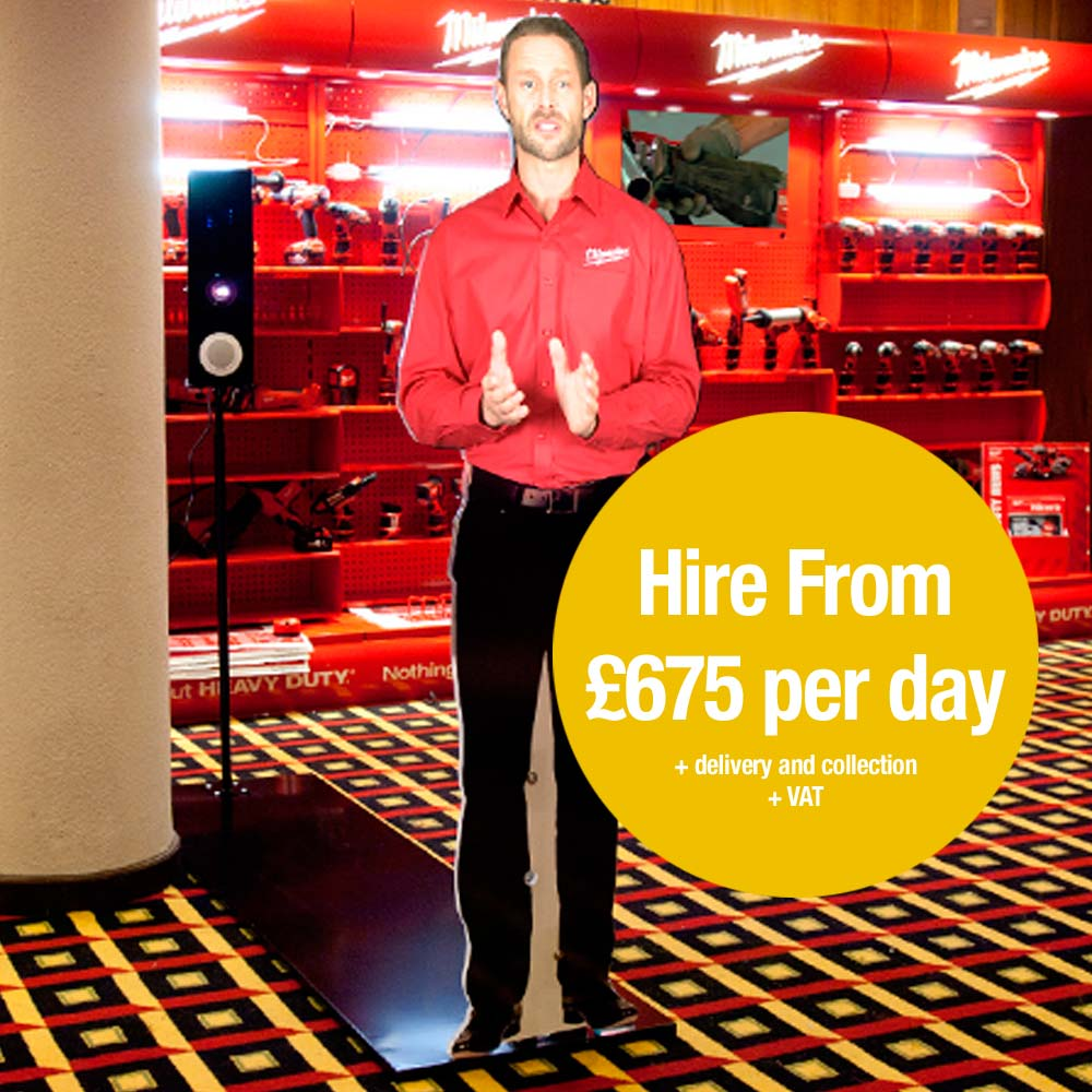 life size virtual manniquin presenter. Hire from £675 per day